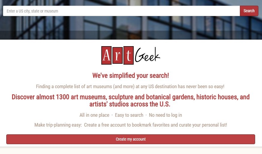 The new and improved ArtGeek.art home plage, with one search field (destination) instead of three.