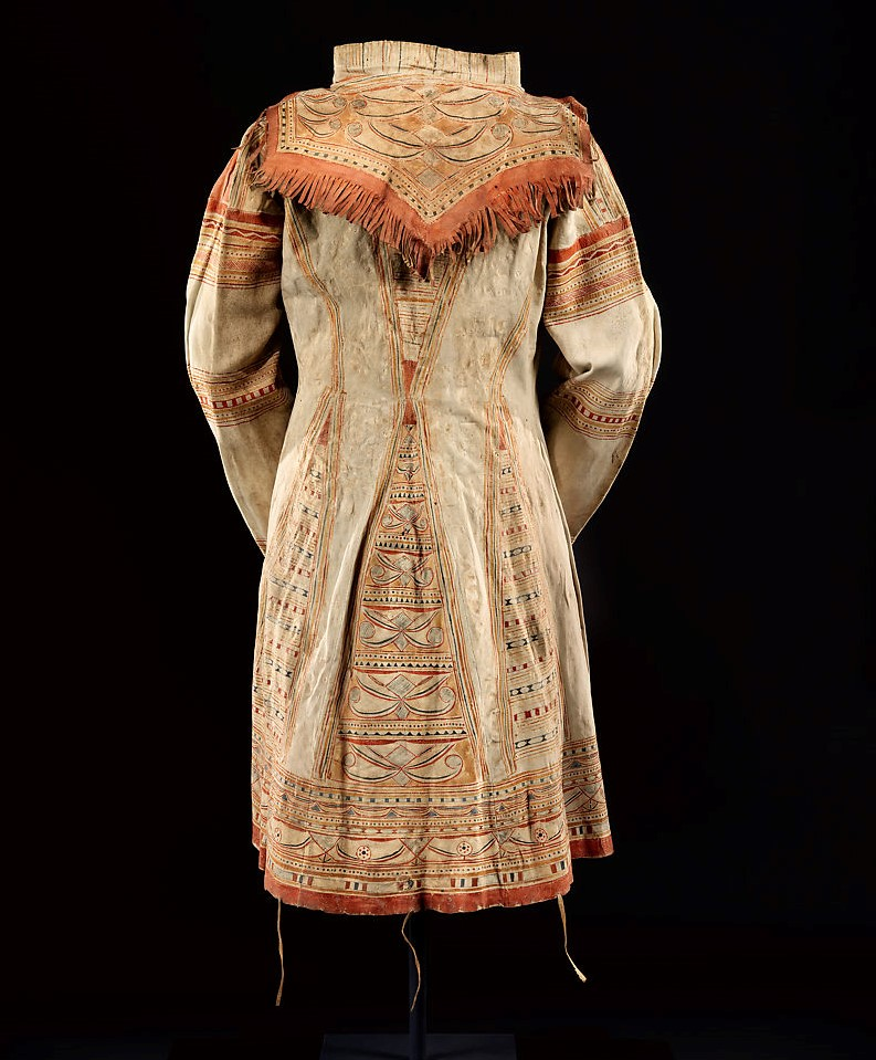 Man's hunting coat, ca. 1820;  Native-tanned leather and pigment; Innu/ Naskapi, Eastern Quebec and Labrador, Canada   Image courtesy of the Metropolitan Museum of Art, New York. The Charles and Valerie Diker Collection of Native American Art